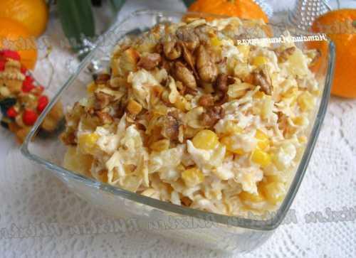 Рецепты салата с курицей, ананасами и грецкими